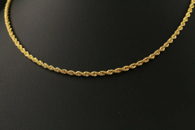 22k Yellow Solid Gold Chain Necklace Simple Rope  Design Length 16 inch C132 | Royal Dubai Jewellers