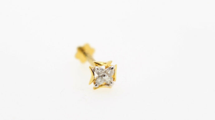 Authentic 18K Yellow Gold Charm Nose Pin Stud Diamond VS2 n330 | Forever22karat
