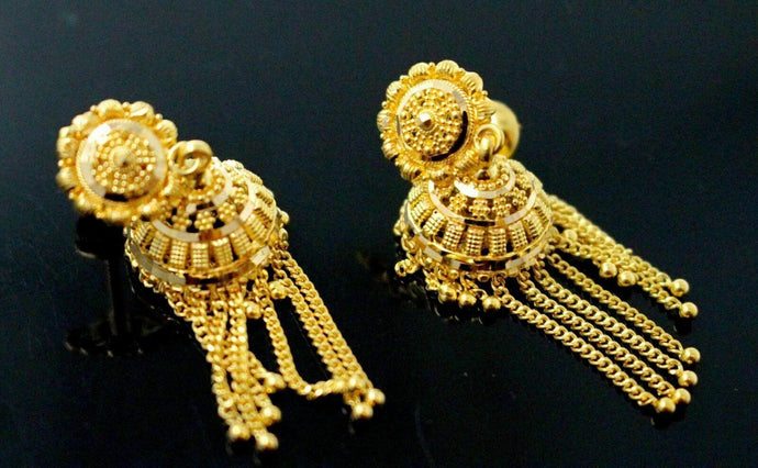 22K 22ct  SOLID GOLD DESIGNER LONG JHUMKI DANGLING HOOP EARRINGS E5752 | Royal Dubai Jewellers