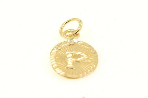 22k 22ct Solid Gold Charm Letter P Pendant Oval Design p1131 ns | Royal Dubai Jewellers
