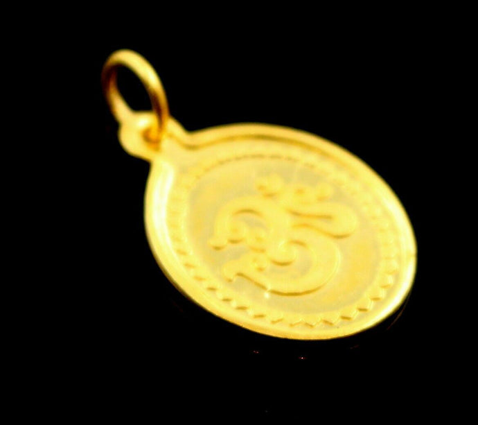 22k Solid Gold two sided LAKSHMI OM Pendant locket p866 | Royal Dubai Jewellers