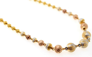 22k Yellow Solid Gold Chain Necklace Tri Tone Ball Design Length 24 inch c823 | Royal Dubai Jewellers