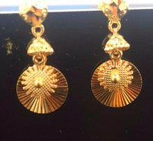 22k Solid Gold ELEGANT EARRINGS DANGLING Hanging Unique Design E665 | Royal Dubai Jewellers