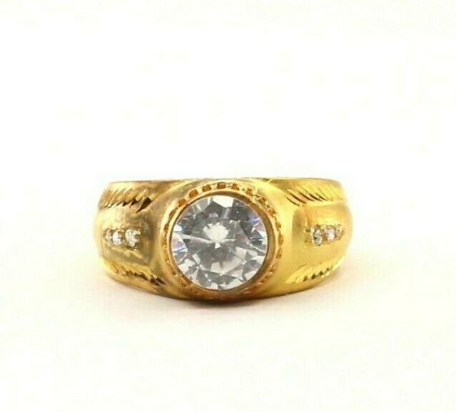 22k Ring Solid Gold ELEGANT Charm Mens Stone Band SIZE 10
