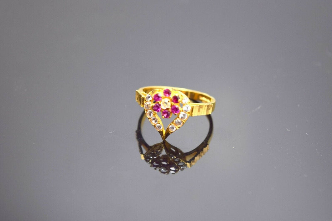 22k Solid Gold Elegant Ruby Stone Band Ring Heart Shape
