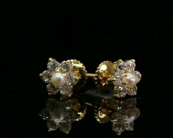 22k Earrings Solid Gold ELEGANT Simple Stud with Pearl and Stones Design e7341