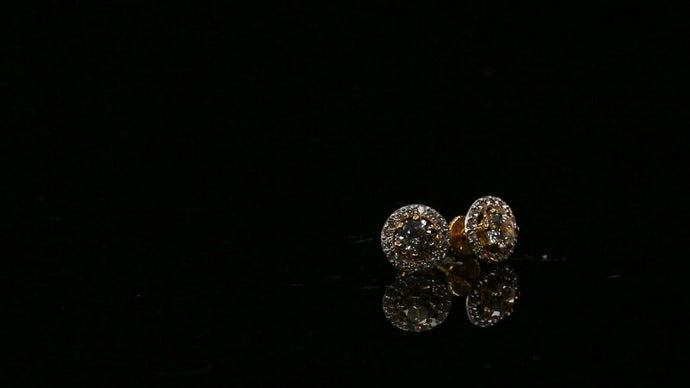 22k Earring  Solid Gold ELEGANT Simple Studs With Stones Design E6020 | Royal Dubai Jewellers