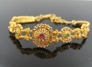 22k 22ct Solid Gold FANCY MODERN ZIRCONIA POLKI COLOR DESIGN BRACELET  b631 | Royal Dubai Jewellers