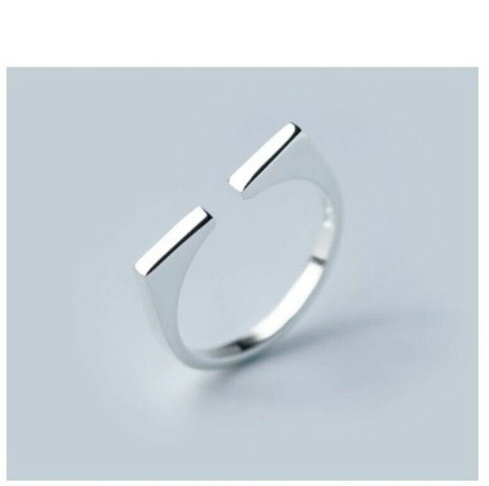 Solid White Gold Ladies Ring Simple Band SM17