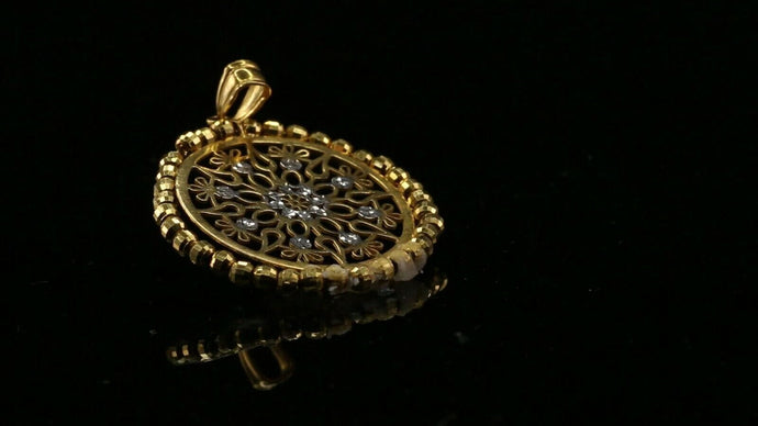 22k 22ct Solid Gold ELEGANT Simple Two Tone Medallion LOCKET Pendant P1458 | Royal Dubai Jewellers