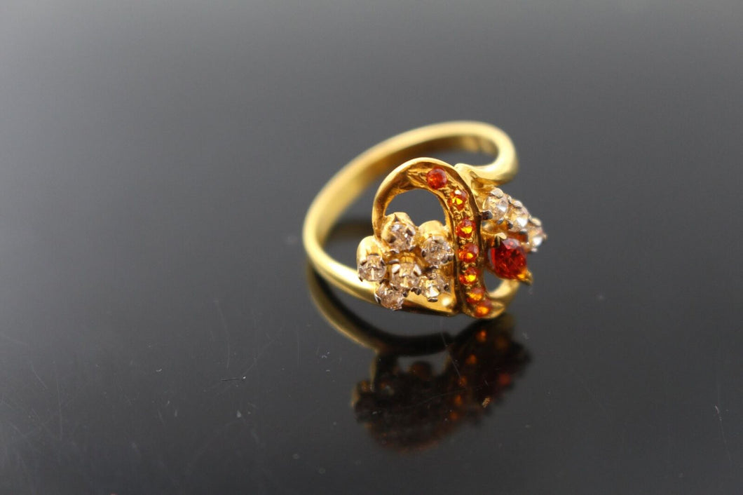 22k Ring Solid Gold Elegant Antique Orange Topaz Stone Band Ring Size 7 au