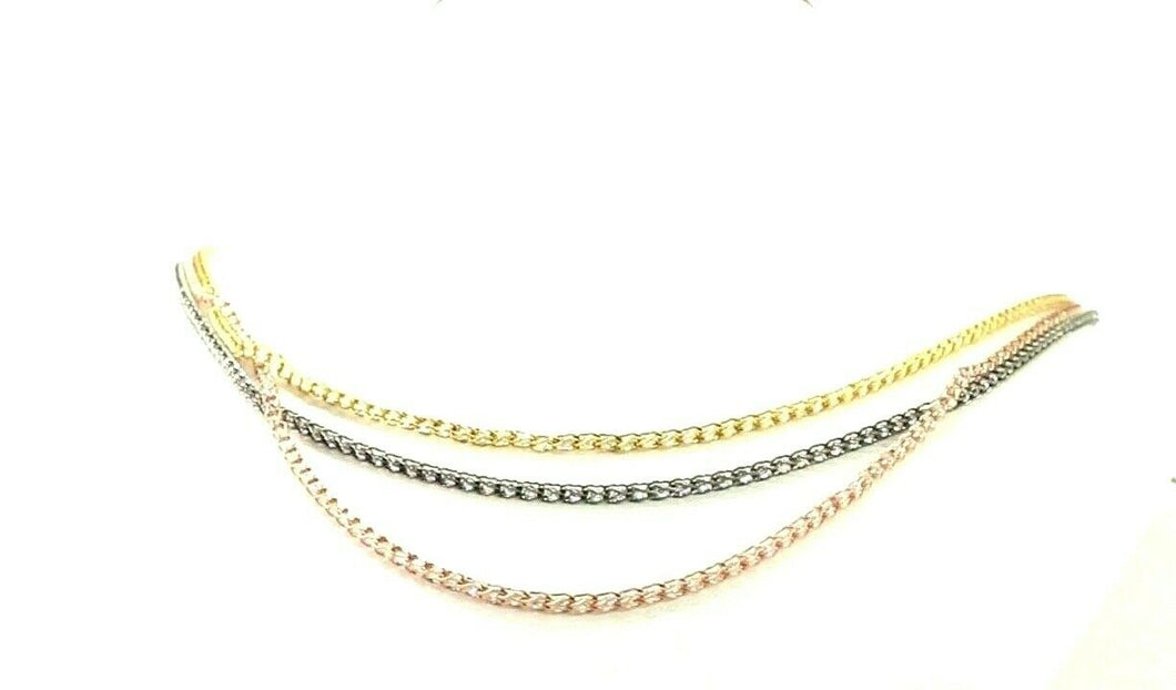 22k Chain Yellow Solid Gold  Necklace Tri Color Stone Encrusted Length 18