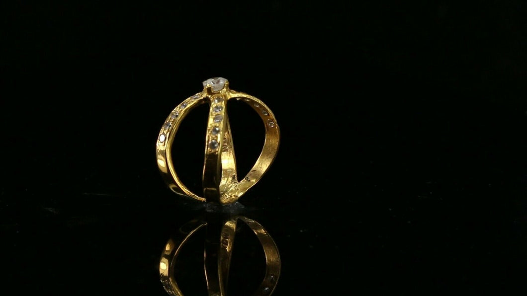 22k Ring Solid Gold ELEGANT Charm Simple Ring Band SIZE 5.5