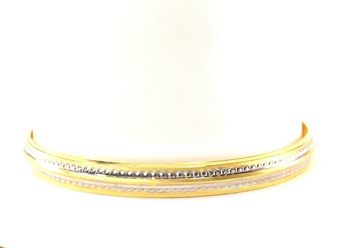 22k Bangle Solid Gold Elegant Modern Two Tone Kara Design Size 2.78 inch B1176 | Royal Dubai Jewellers