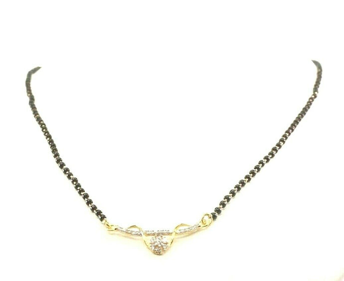 22k Yellow Solid Gold Chain Necklace Mangulsutra Design Length 16 inch C3128