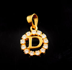 22k Jewelry Solid Gold Round Shape Pendent D letter Stone Modern Design p577 | Royal Dubai Jewellers
