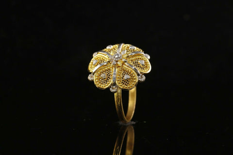 "22k 22ct Solid Gold ELEGANT Charm Ladies Floral Ring SIZE 7.25 ""RESIZABLE"" r1847 