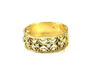 "22k Ring Solid Gold ELEGANT Charm Ladies Band SIZE 7.5 ""RESIZABLE"" r2926mon"
