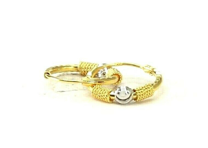 22k Earrings Solid Gold ELEGANT Simple Two Tone Hoops Design E8190