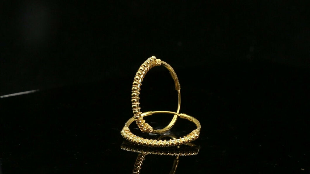 22k Earrings Solid Gold ELEGANT Simple Diamond Cut Hoop with Beads Design e7334