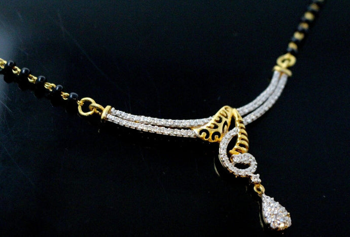 22k 22ct Yellow Solid Gold Chain BLACK BEADED  MANGALSUTRA CHAIN NECKLACE c867 | Royal Dubai Jewellers