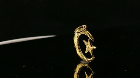 22k Pendant Solid Gold ELEGANT Simple Midnight Moon And Star Pendant P2007
