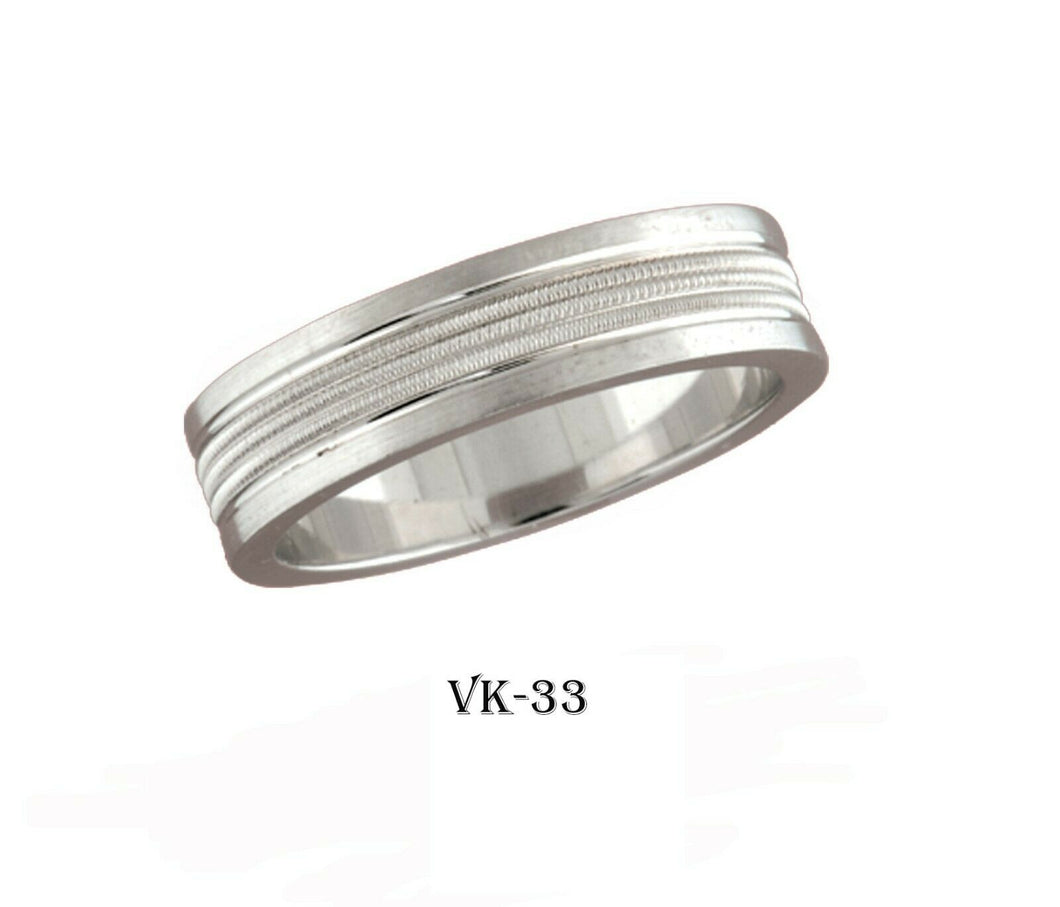 18k Solid Gold Elegant Ladies Modern Vertical Carbide Flat Band 6MM Ring VK33v