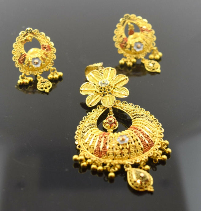 22k Solid Gold ELEGANT Pendant Set EARRINGS DANGLING S38 | Royal Dubai Jewellers