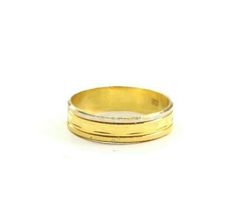 22k Ring Solid Gold ELEGANT Charm Diamond Cut Band SIZE 8