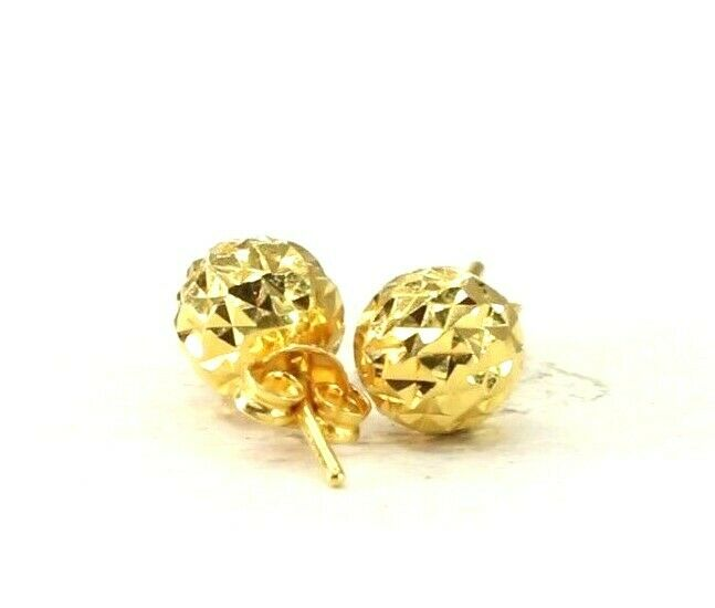 22k Earrings Solid Gold ELEGANT Simple Diamond Cut Studs Design E8231