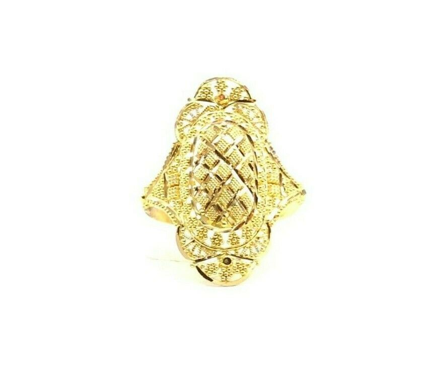 22k Ring Solid Gold ELEGANT Charm Ladies Filigree Ring SIZE 8.5