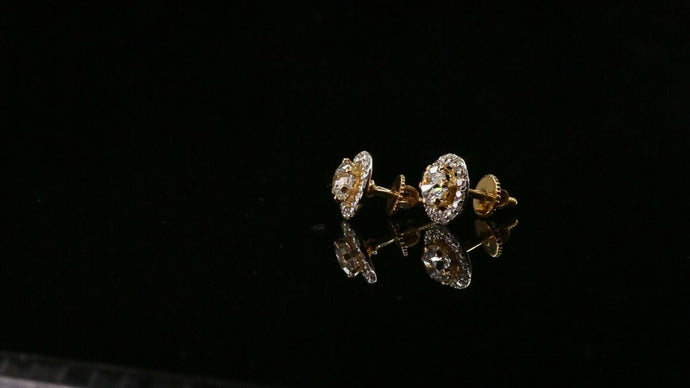 22k Earring Solid Gold ELEGANT Simple Studs With Stones Design E6013 | Royal Dubai Jewellers