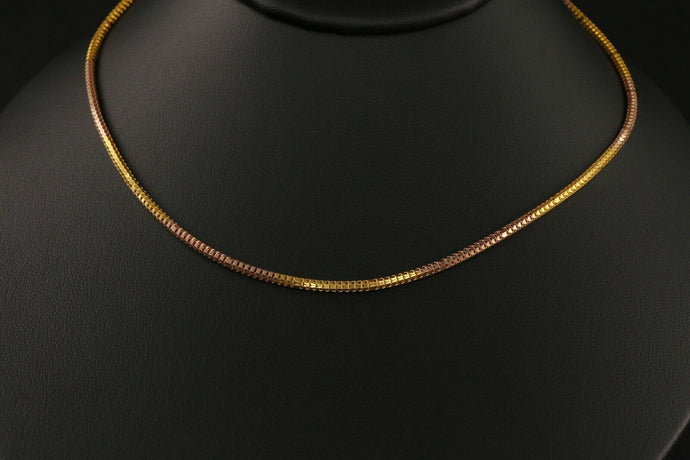 22k Yellow Solid Gold Chain Necklace Rope Cocoon Design Length 18 inch C133 | Royal Dubai Jewellers