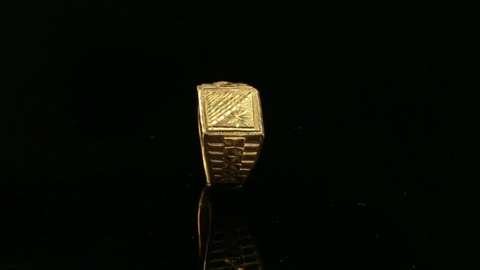 22k Ring Solid Gold ELEGANT Charm Mens Diamond Cut Band SIZE10