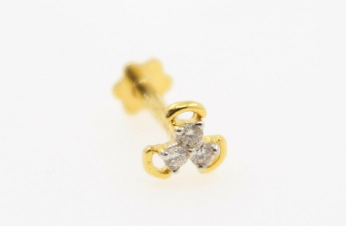 Authentic 18K Yellow Gold Charm Nose Pin Stud Diamond VS2 n311 | Forever22karat