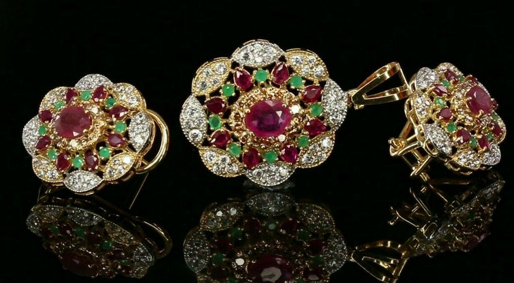 22k Pendant Set Solid Gold ELEGANT Classic Round Floral With Multi Color p2140