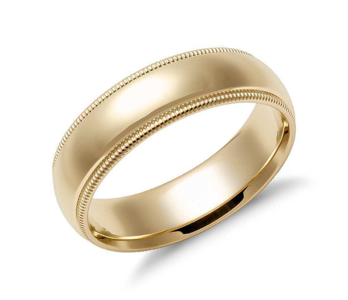 14k Solid Gold Milgrain Comfort Fit Wedding Ring 6mm Custom Size Available