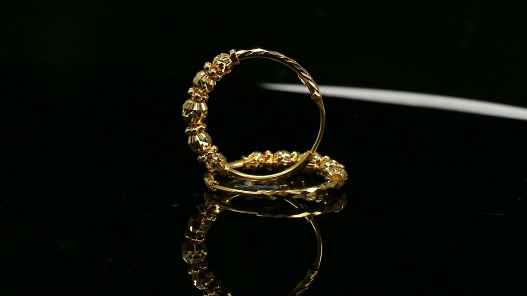 22k Earrings Solid Gold ELEGANT Simple Diamond Cut Hoop with Beads Design E7326