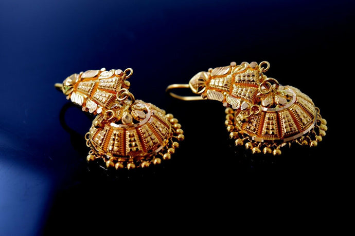 22k 22ct Solid Gold Ladies Classic Jhumki wtih French Hook EARRINGS E5913 | Royal Dubai Jewellers