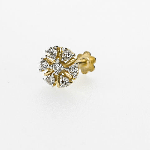 18k Stunning Modern Diamond Solid Gold Nose pin Unique Design Comfort Fit NP88 - Royal Dubai Jewellers