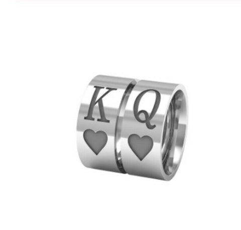 Solid White Gold Ring Ladies Queen Of Hearts Design SM23