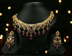 22k Beautiful Charm Solid Gold Traditional Necklace Set For Ladies LS157