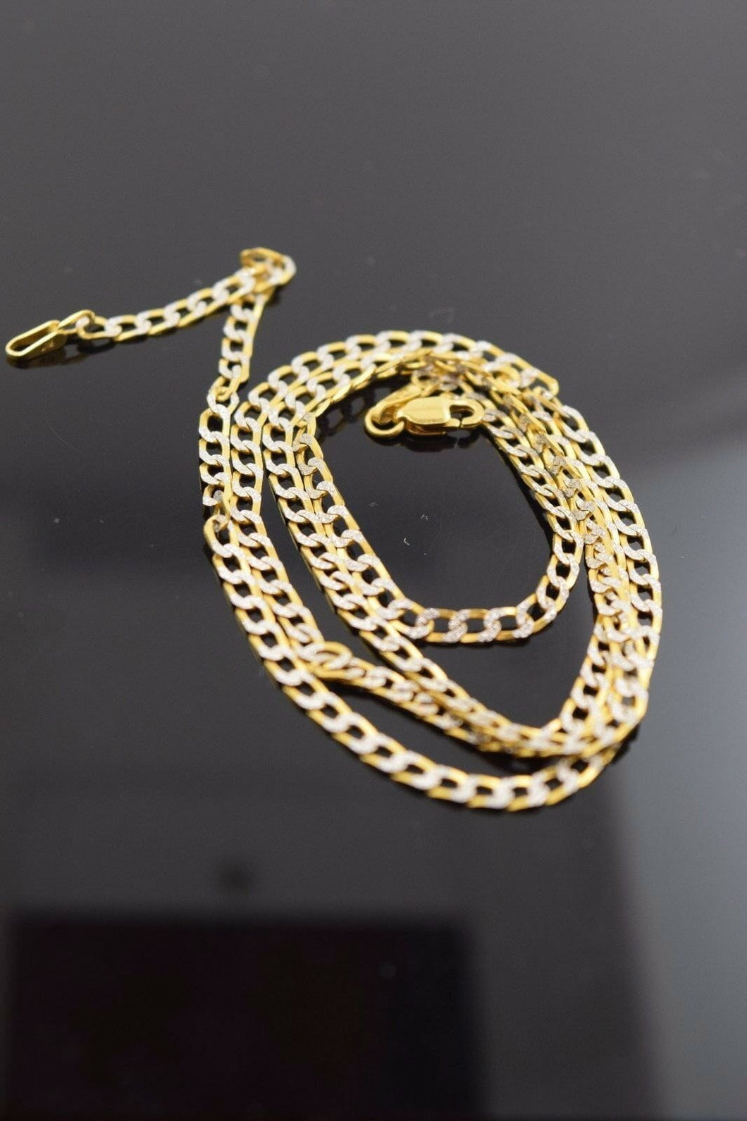 22k Yellow Solid Gold Chain Rope Necklace 1 mm c42 with white diamond cut box | Royal Dubai Jewellers