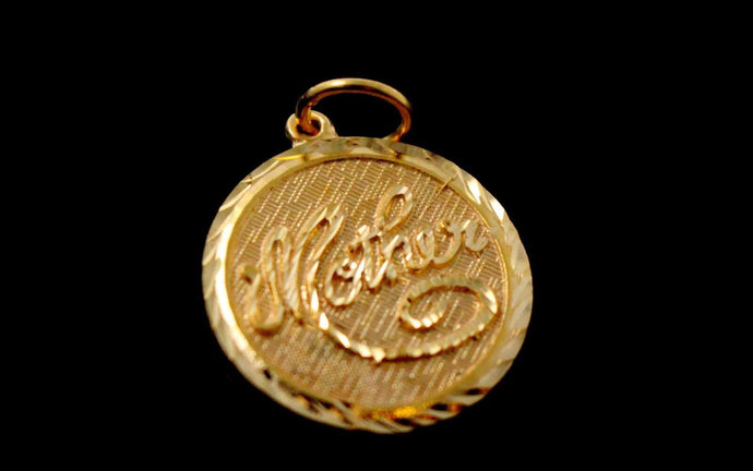 22k 22ct Solid Gold Charm Mom Pendant Round Design p1228 ns | Royal Dubai Jewellers