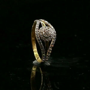 "22k Ring Solid Gold ELEGANT Charm Encrusted Stone Ring SIZE 5"" RESIZABLE"" r2720"