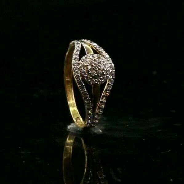 22k Ring Solid Gold ELEGANT Charm Encrusted Stone Ring SIZE 5
