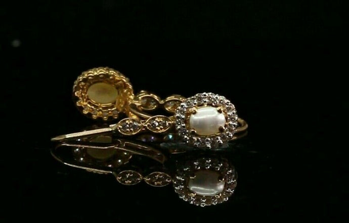 22k Earrings Solid Gold ELEGANT Simple Clip On Hoop with Pearl Design e7329