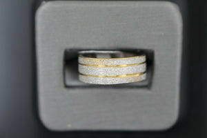 18k Solid Gold Elegant Ladies Modern Sand Finish Band Ring R9207m