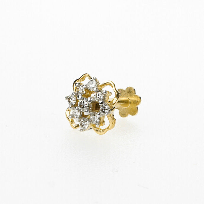 18k Stunning Modern Diamond Solid Gold Nose pin Unique Design Comfort Fit NP17 - Royal Dubai Jewellers