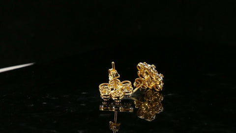 22k Earrings Solid Gold ELEGANT Simple Floral Stone Encrusted Studs Design e3809